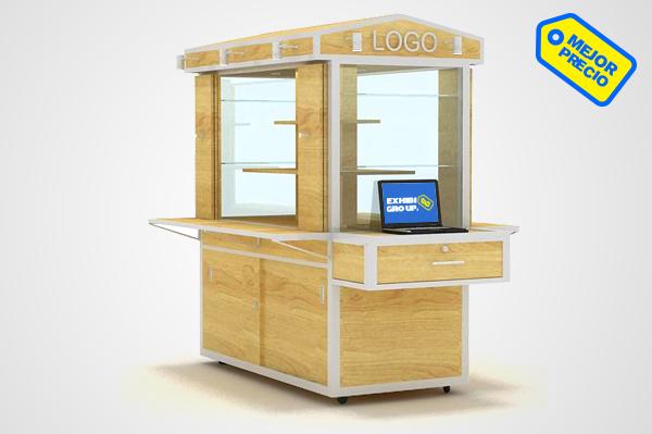 Exhibidores vitrinas islas y carretas para centros for Disenos de kioscos de madera